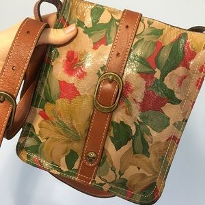 Patricia Nash floral Italian leather crossbody bag